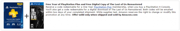 Free Year of PlayStation Plus and Free Digital Copy of The Last of Us Remastered