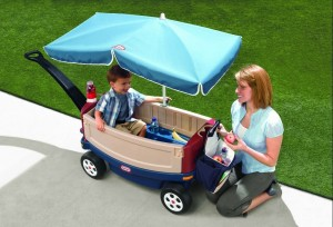 Little Tikes Deluxe Ride and Relax Wagon with Umbrella b