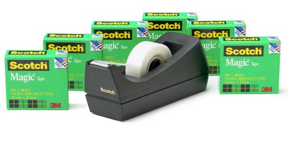 Scotch Magic Tape 6-Roll Value Pack with C38 Black Dispenser