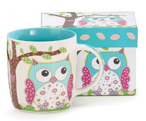 Whimsical Calico Owl Coffee Mug  & matching box