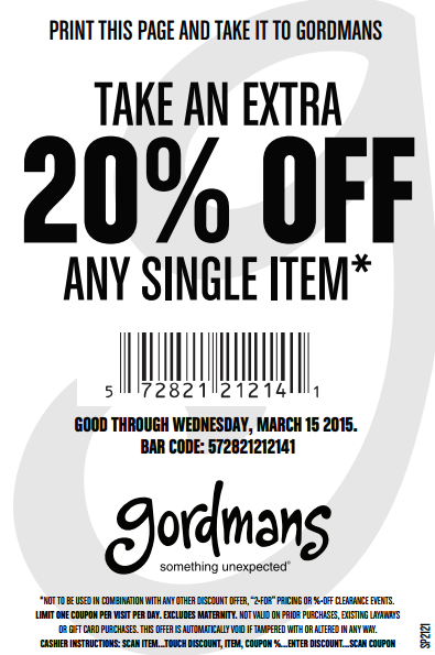 gordmans coupon