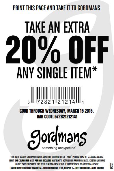 gordmans coupon