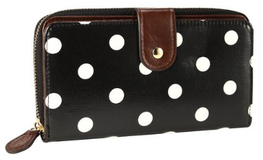 Polka Dots Designer Oilcloth Leather Purse