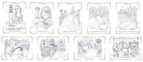 cinderella 9 free coloring pages