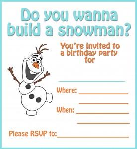 do you wanna build a snowman invite printable