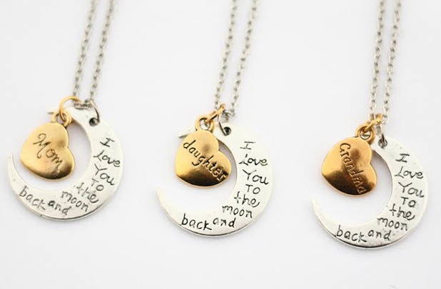 i love you to the moon and back mothers day necklaces