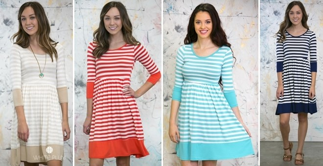knee length striped jersey dress