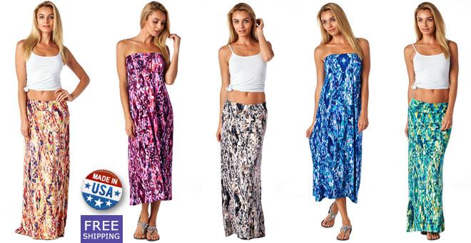 print maxi skirts