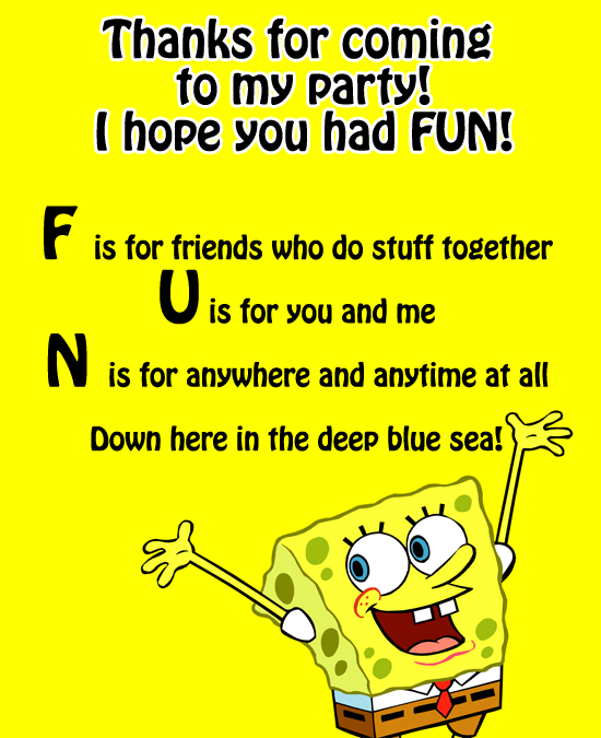 SpongeBob Birthday Party Ideas FREE Spongebob Printable Utah