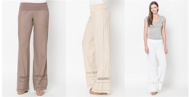 Crochet Trimmed Linen Pants
