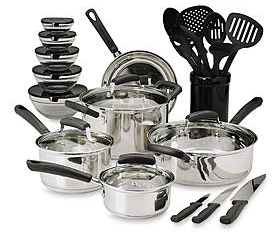 Essential Home  25-Piece Stainless Steel Mega Cookware Set