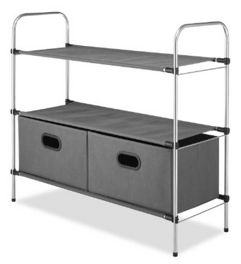 Whitmor Closet Organizer Collection 3 Tier Shelves with 2 Collapsible Drawers
