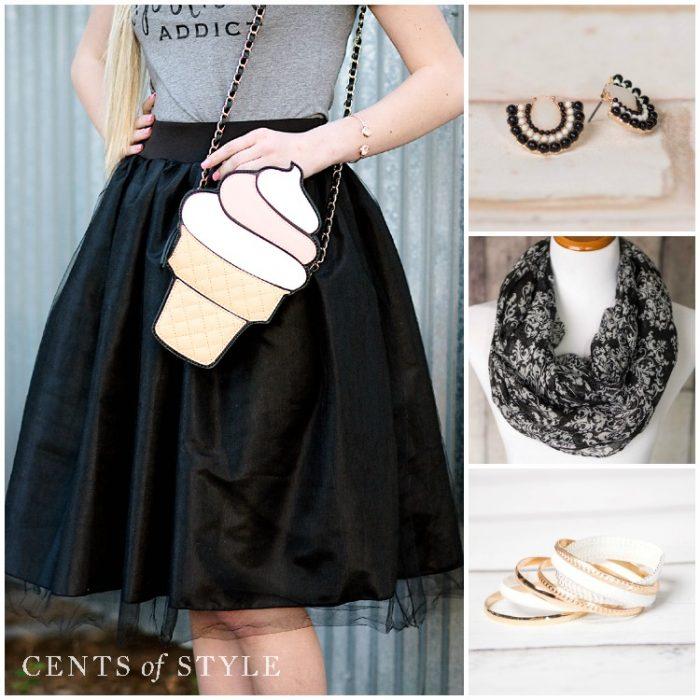 black and white accessories