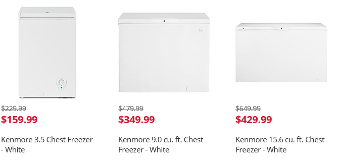right now kmart has their chest deep freezers on sale at great discounts if you are in need go and check them out
