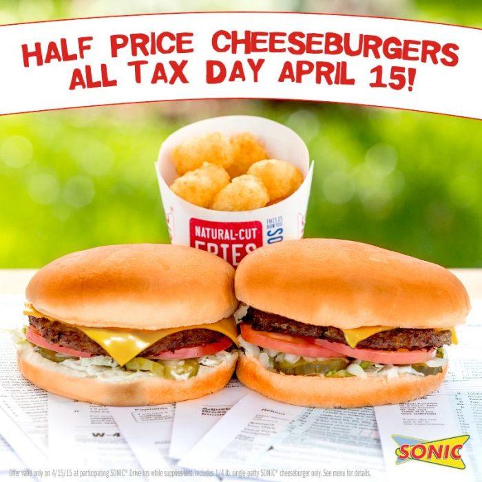 sonic drive in half price cheeseburgers