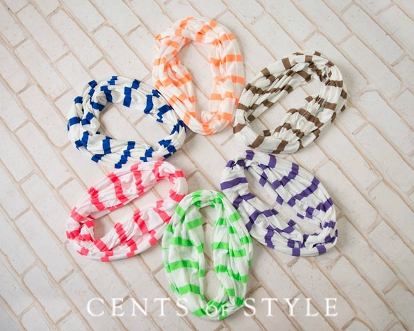 striped infinity scarves at cents of style