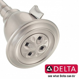 Adjustable Water-Amplifying Shower Head in Satin Nickel Finish