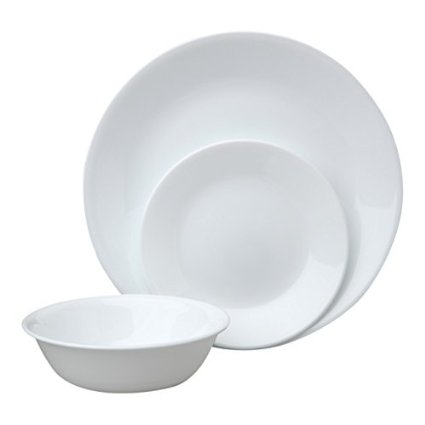 Corelle Livingware Winter Frost 18-Piece Dinner Set, Service for 6, White
