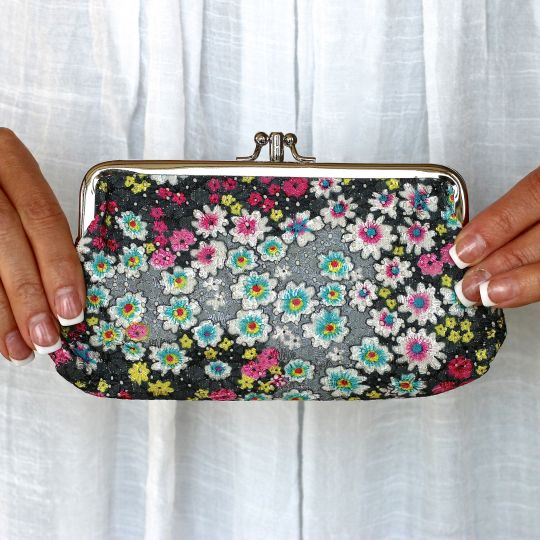 Embroidered Floral Clutch - 4 Colors!