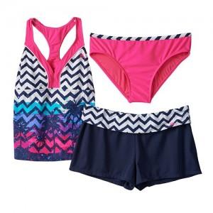 ZeroXposur Chevron Palm Tree 3-pc. Tankini Swimsuit Set - Girls Plus