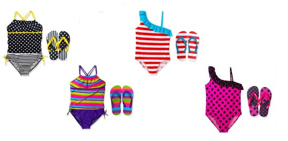 girls swimsuits and matching flip flop sets