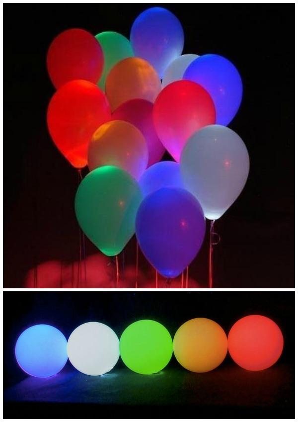 10 Assorted Color LED Light Up Balloons