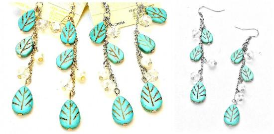 Faux Pearl Turquoise Dangle Earrings