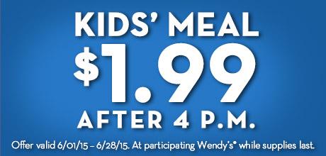 wendys kids meals 1.99