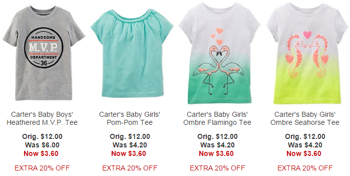39e342475 Carter's Kids and Baby Items: Graphic Tees $2.99, Baby Bodysuits ...