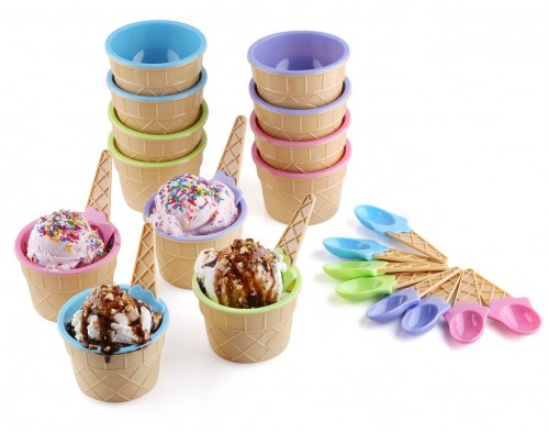 Greenco Set of 12 Vibrant Colors Ice Cream Dessert Bowls and Spoons