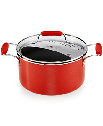 Martha Stewart Collection Cookware Plus 6-Qt Stockpot with Lid & Straining Insert