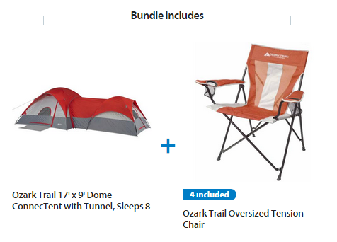 Ozark Trail ConnecTENT 8-Person 2-Dome Tent with Bonus Set of 4 Chairs Value Bundle