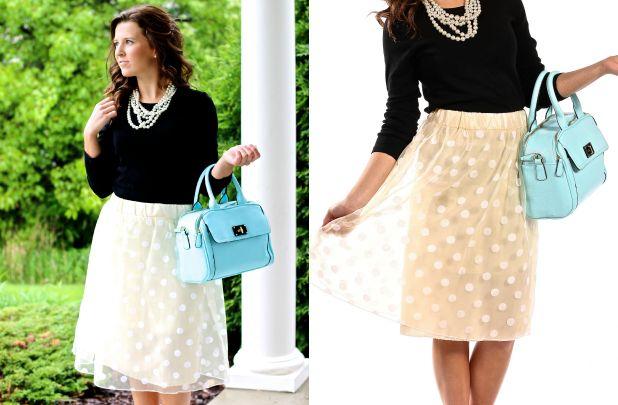 Polka Dot Tulle Midi Skirt