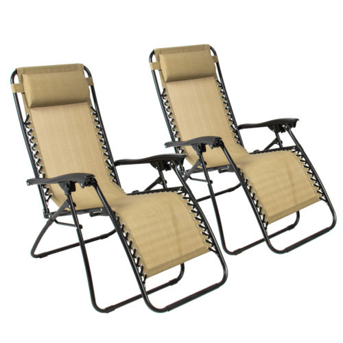 Set of 2 Zero Gravity Tan Lounge Chairs
