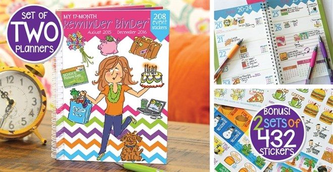 TWO 17-Month Planners + FREE set of 432 Planner Stickers for each one