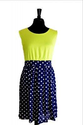 neon and navy dress