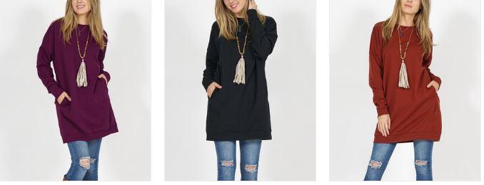 3713e7294d0 Two-Pocket Fleece Tunic – 14 Colors $12.79 – Utah Sweet Savings