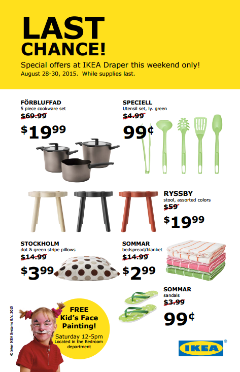 Ikea last chance sale this weekend draper location for Ikea draper ut heures