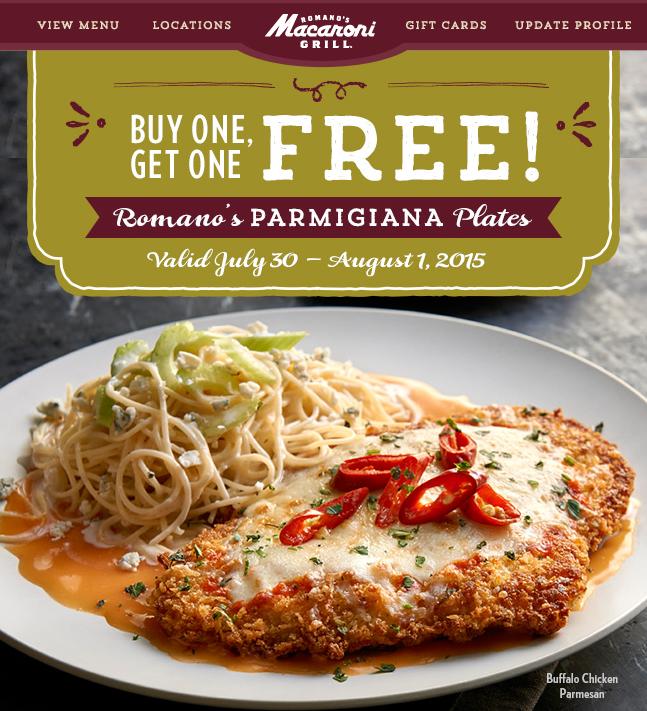 macaroni grill buy one get one free romano s parmigiana