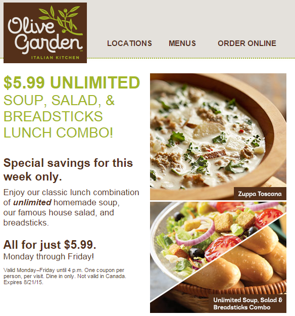 Olive Garden 5 99 Unlimited Soup Salad Breadsticks Lunch
