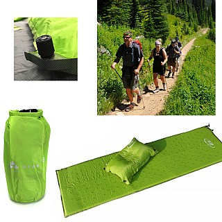 Self Inflating Hiking Camp Mat and Pillow Set With Dry Sack