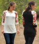 black or white floral baseball tee