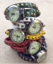 leather rivet wrap watches
