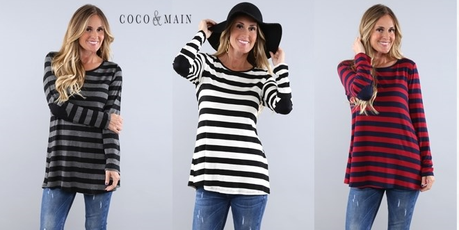 striped button elbow patch shirt