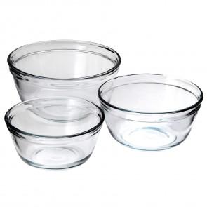 3 piece glass mixing bowl