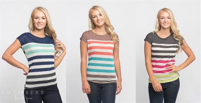 Colorblock Striped Tops