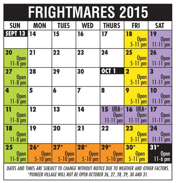 Frightmares Calendar