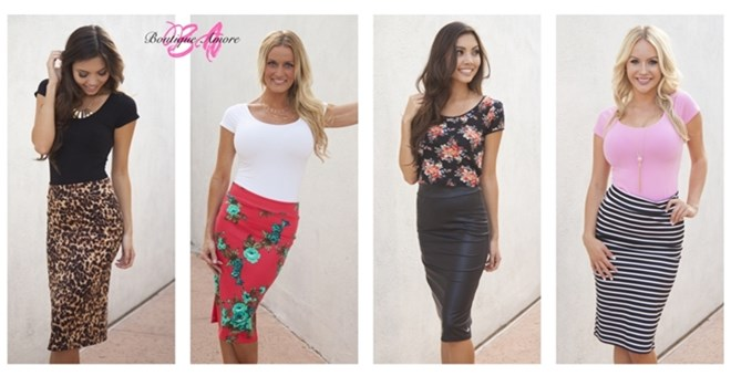 Printed Pencil Skirts