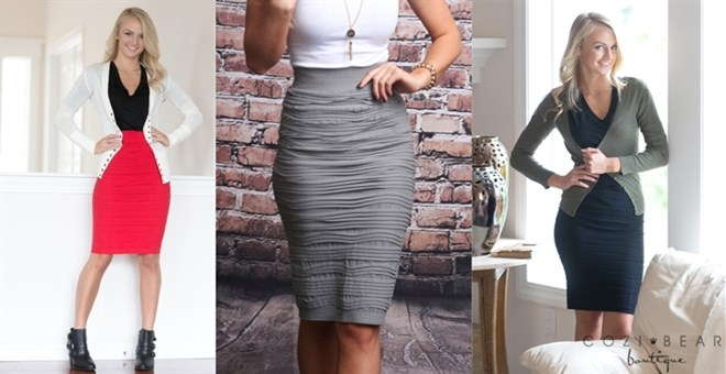 Textured Pencil Skirts