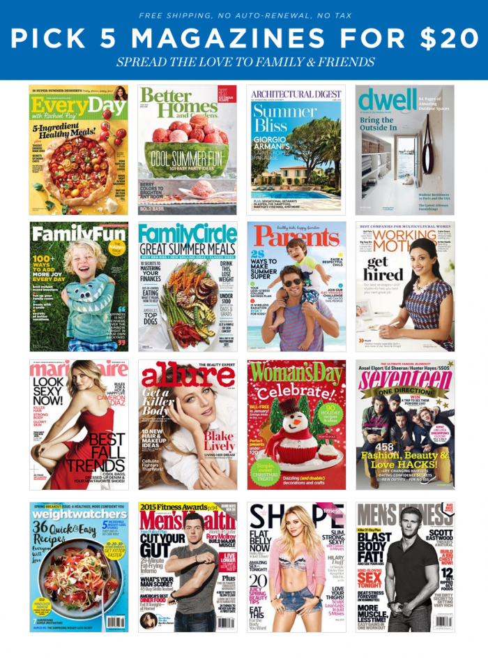 discount mags labor day pick 5 for $20